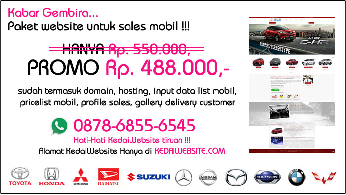 Template Website Sales Mobil Murah, email. sales@kedaiwebsite.com / contact / WA +62 878 6855 6545